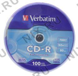 Диск CD-R 700Mb/52x Verbatim(в уп-ке на шпинд. 100шт) Cake Box (43411)