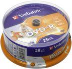 Диск DVD-R     4.7Gb Verbatim 16x  (в упаковке на шпинделе 25шт)/Cake Box  printable (43538)